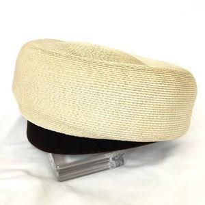 Vintage Pillbox Hat, Straw With Brown Velvet Trim
